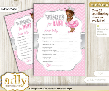 African Princess Wishes for a Baby, Well Wishes for a Little Princess Printable Card, Royal, Pink Silver