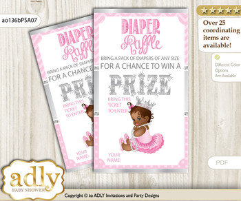 African Princess Diaper Raffle Printable Tickets for Baby Shower, Pink Silver, Royal