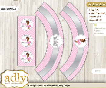 Printable African Princess Cupcake, Muffins Wrappers plus Thank You tags for Baby Shower Pink Silver, Royal