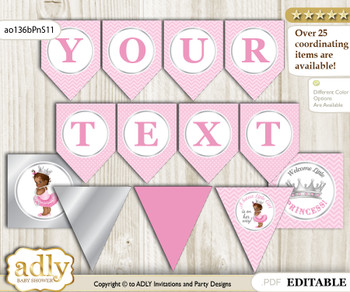 DIY Personalizable African Princess Printable Banner for Baby Shower, Pink Silver, Royal