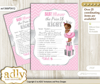 Printable African Princess Price is Right Game Card for Baby Princess Shower, Pink Silver, Royal