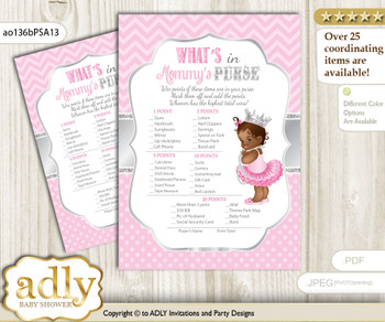 African Princess What is in Mommy's Purse, Baby Shower Purse Game Printable Card , Pink Silver,  Royal