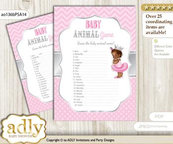 Printable African Princess Baby Animal Game, Guess Names of Baby Animals Printable for Baby Princess Shower, Pink Silver, Royal
