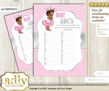 African Princess Baby ABC's Game, guess Animals Printable Card for Baby Princess Shower DIY – Royal
