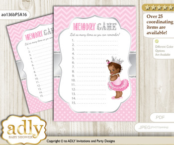 African Princess Memory Game Card for Baby Shower, Printable Guess Card, Pink Silver, Royal