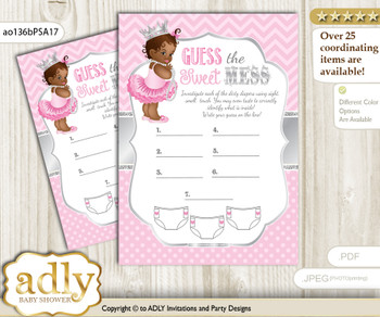 African Princess Dirty Diaper Game or Guess Sweet Mess Game for a Baby Shower Pink Silver, Royal