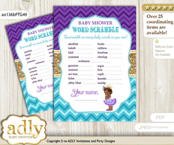 African Princess Word Scramble Game for Baby Shower  v