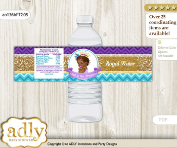 African Princess Water Bottle Wrappers, Labels for a Princess  Baby Shower, Teal Gold, Royal