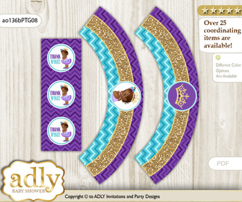 Printable African Princess Cupcake, Muffins Wrappers plus Thank You tags for Baby Shower Teal Gold, Royal