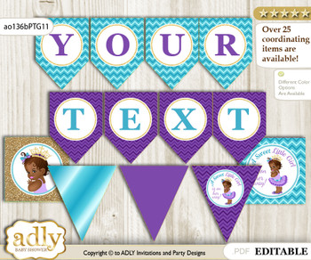 DIY Personalizable African Princess Printable Banner for Baby Shower, Teal Gold, Royal