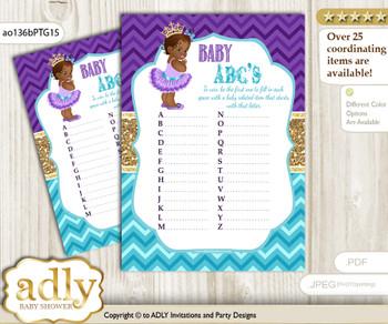 African Princess Baby ABC's Game, guess Animals Printable Card for Baby Princess Shower DIY – Royal v