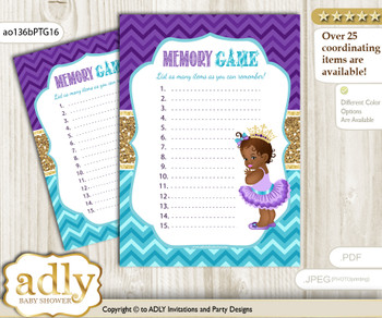African Princess Memory Game Card for Baby Shower, Printable Guess Card, Teal Gold, Royal