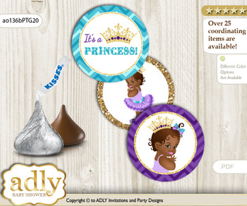 Printable  African Princess Candy Kisses for Baby African Shower DIY Teal Gold , Royal