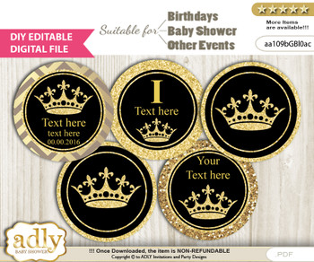 DIY Text Editable Prince Royal Cupcake Toppers Digital File, print at home, suitable for birthday, baby shower, baptism