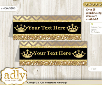DIY Text Editable Printable Royal Prince Buffet Tags or Food