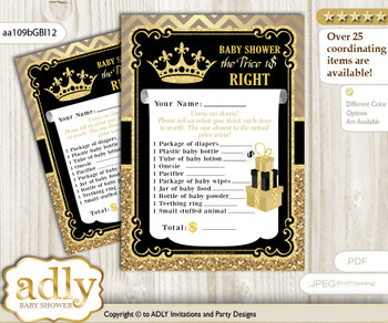 Printable Prince Royal Price is Right Game Card for Baby Royal Shower, Black Gold, Crown