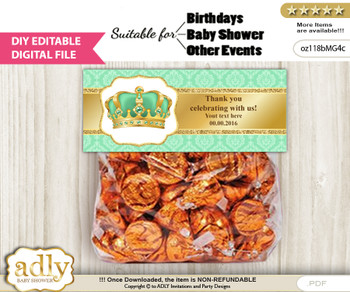 DIY Text Editable King Prince Goodie  Treat Bag Toppers, Favor Bag Digital File, print at home  n