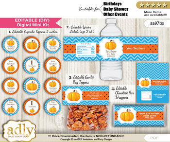DIY Text Editable Boy Pumpkin Baby Shower, Birthday digital package, kit-cupcake, goodie bag toppers, water labels, chocolate bar wrappers