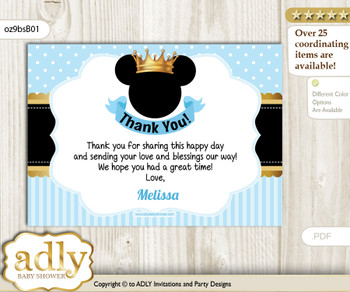 Prince Mickey Thank you Printable Card with Name Personalization for Baby Shower or Birthday Party