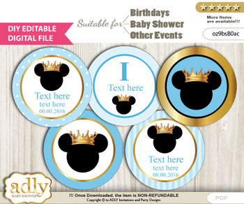 DIY Text Editable Prince Mickey Cupcake Toppers Digital File, print at home, suitable for birthday, baby shower, baptism