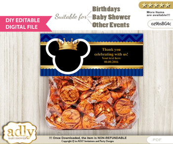 DIY Text Editable Prince Mickey Goodie  Treat Bag Toppers, Favor Bag Digital File, print at home  n
