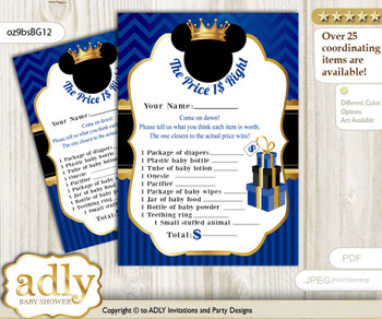 Printable Prince Mickey Price is Right Game Card for Baby Mickey Shower, Blue Gold, Royal n