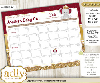 DIY Princess Elephant Baby Due Date Calendar, guess baby arrival date game  n