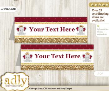 DIY Text Editable Printable Peanut Elephant Buffet Tags or Food Tent