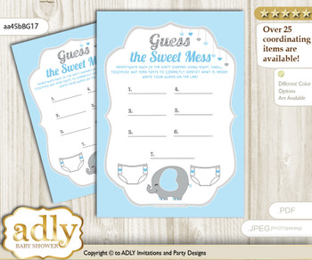 Peanut Elephant Dirty Diaper Game or Guess Sweet Mess Game for a Baby Shower Blue Grey, Boy