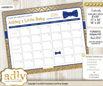 DIY Man Bow Tie Baby Due Date Calendar, guess baby arrival date game