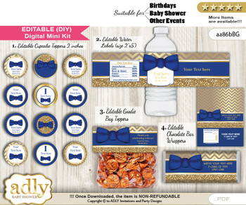 DIY Text Editable Man Bow Tie Baby Shower, Birthday digital package, kit-cupcake, goodie bag toppers, water labels, chocolate bar wrappers