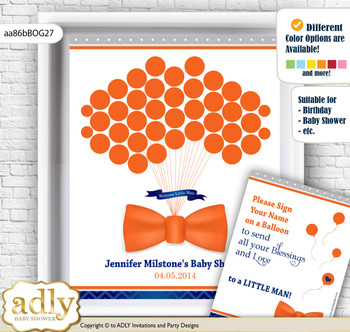 Boy Bow Tie Guest Book Alternative for a Baby Shower, Creative Nursery Wall Art Gift, Orange Blue, Grey