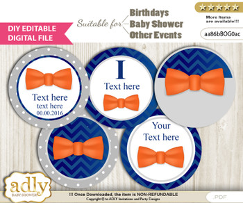 DIY Text Editable Boy Bow Tie Cupcake Toppers Digital File, print at home, suitable for birthday, baby shower, baptism v