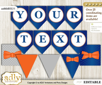 DIY Personalizable Boy Bow Tie Printable Banner for Baby Shower, Orange Blue, Grey