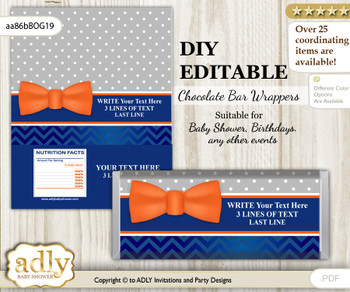DIY Personalizable Boy Bow Tie Chocolate Bar Candy Wrapper Label for Boy  baby shower, birthday Orange Blue , editable wrappers