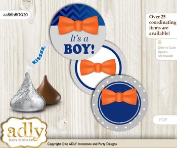 Printable  Boy Bow Tie Candy Kisses for Baby Boy Shower DIY Orange Blue , Grey
