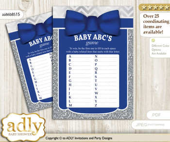 Boy Bow tie Baby ABC's Game, guess Animals Printable Card for Baby Bow tie Shower DIY – Silver