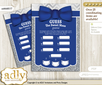 Boy Bow tie Dirty Diaper Game or Guess Sweet Mess Game for a Baby Shower Blue Grey, Silver