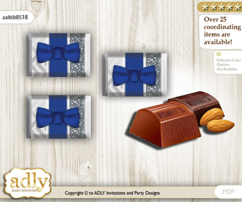 Boy Bow tie Chocolate Nuggets Candy Wrapper Label for Baby Boy Shower  Blue Grey , Silver