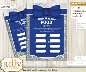 Boy Bow tie Guess Baby Food Game or Name That Baby Food Game for a Baby Shower, Blue Grey Silver