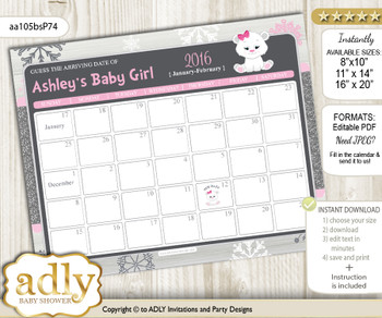 DIY Girl Polar Bear Baby Due Date Calendar, guess baby arrival date game