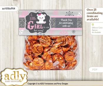 Printable Girl Polar Bear Treat or Goodie bag Toppers for Baby Girl Shower or Birthday DIY pink grey, Snowflake