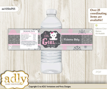 Girl Polar Bear Water Bottle Wrappers, Labels for a Polar Bear  Baby Shower, pink grey, Snowflake