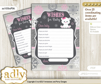 Girl Polar Bear Wishes for a Baby, Well Wishes for a Little Polar Bear Printable Card, Snowflake, pink grey