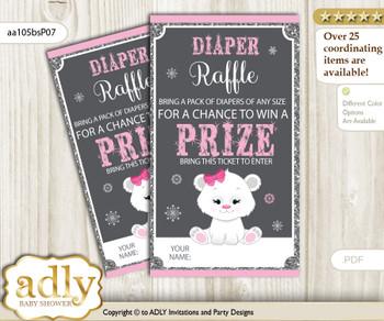 Girl Polar Bear Diaper Raffle Printable Tickets for Baby Shower, pink grey, Snowflake