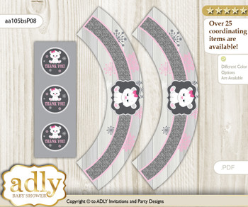 Printable Girl Polar Bear Cupcake, Muffins Wrappers plus Thank You tags for Baby Shower pink grey, Snowflake