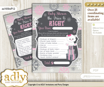 Printable Girl Polar Bear Price is Right Game Card for Baby Polar Bear Shower, pink grey, Snowflake