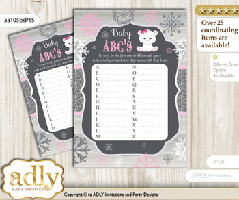 Girl Polar Bear Baby ABC's Game, guess Animals Printable Card for Baby Polar Bear Shower DIY – Snowflake