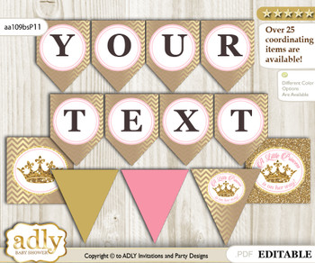 DIY Personalizable Royal Princess Printable Banner for Baby Shower, pink gold, Glitter