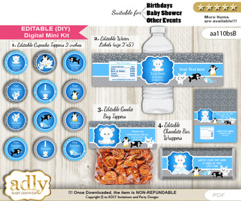 DIY Text Editable Boy Arctic Baby Shower, Birthday digital package, kit-cupcake, goodie bag toppers, water labels, chocolate bar wrappers
